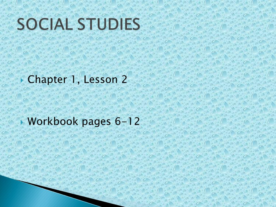 SOCIAL STUDIES Chapter 1, Lesson 2 Workbook pages 6-12