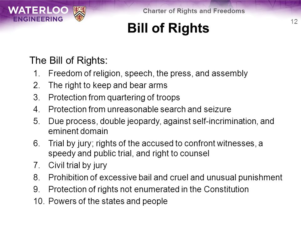 Bill of Rights The Bill of Rights: