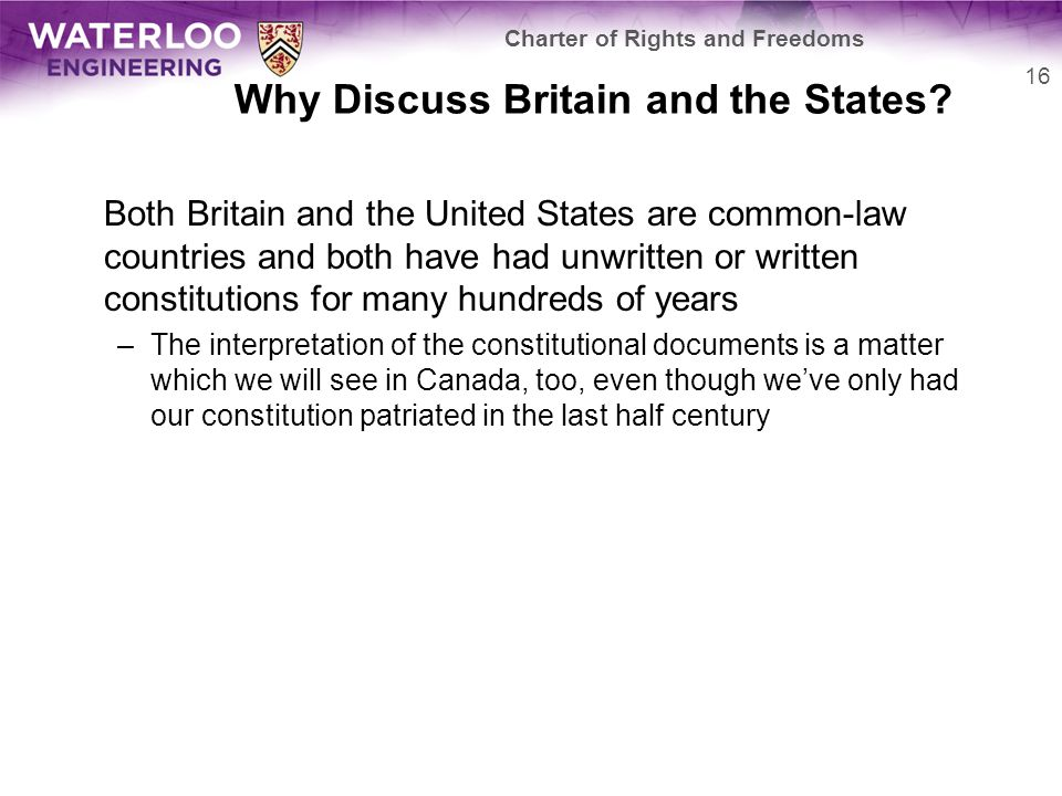 Why Discuss Britain and the States