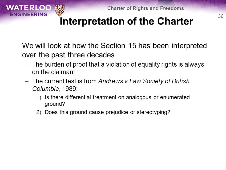 Interpretation of the Charter