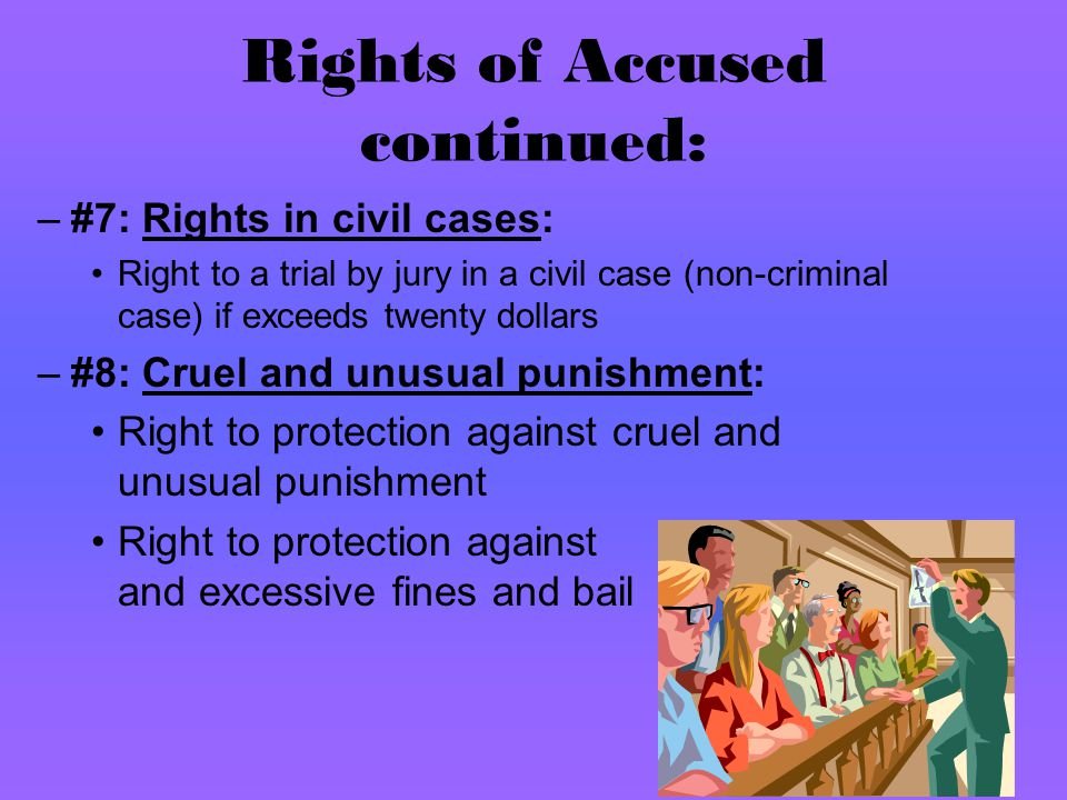 Rights of Accused continued: