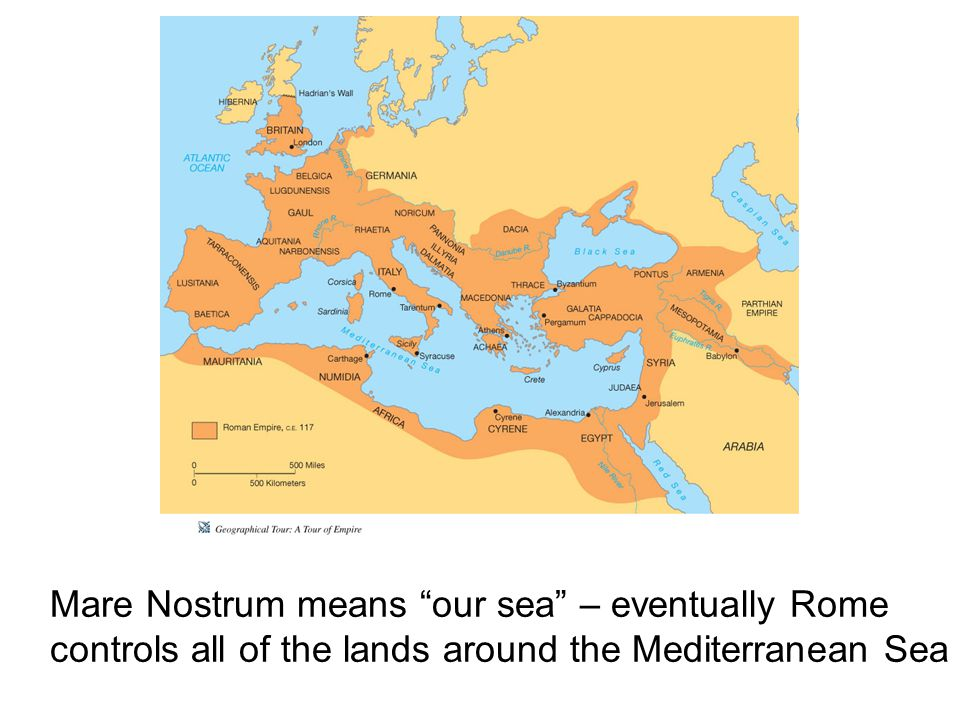 Mare Nostrum means our sea – eventually Rome controls all of the lands around the Mediterranean Sea