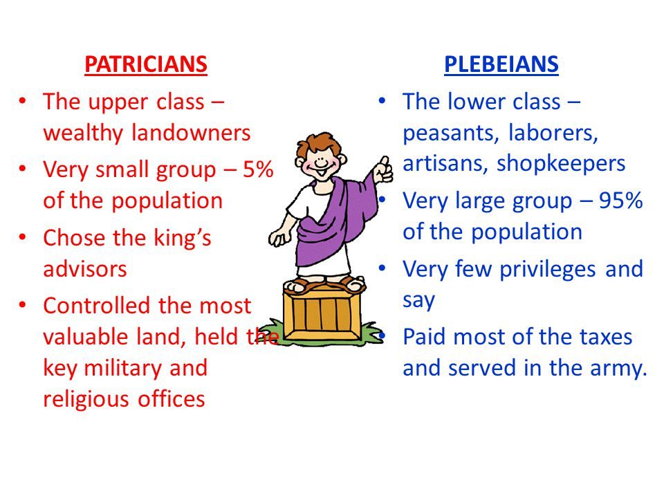PATRICIANS The upper class – wealthy landowners. Very small group – 5% of the population. Chose the king's advisors.
