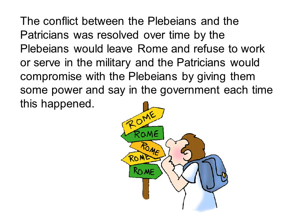 The conflict between the Plebeians and the Patricians was resolved over time by the Plebeians would leave Rome and refuse to work or serve in the military and the Patricians would compromise with the Plebeians by giving them some power and say in the government each time this happened.