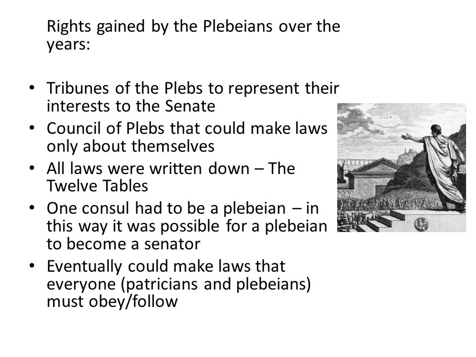 Rights gained by the Plebeians over the years: