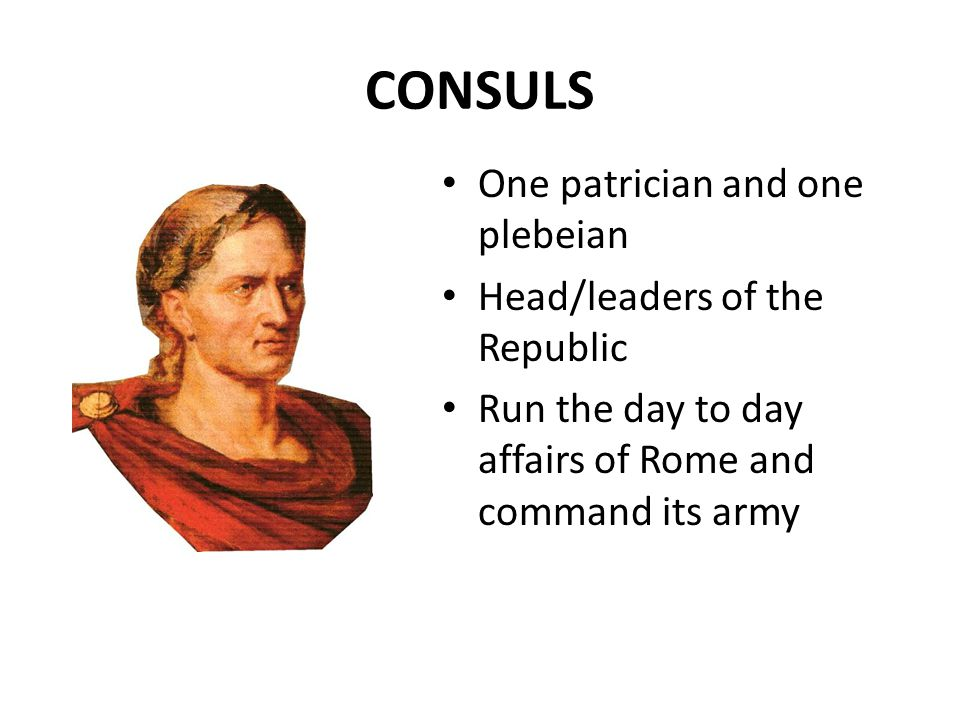 CONSULS One patrician and one plebeian Head/leaders of the Republic