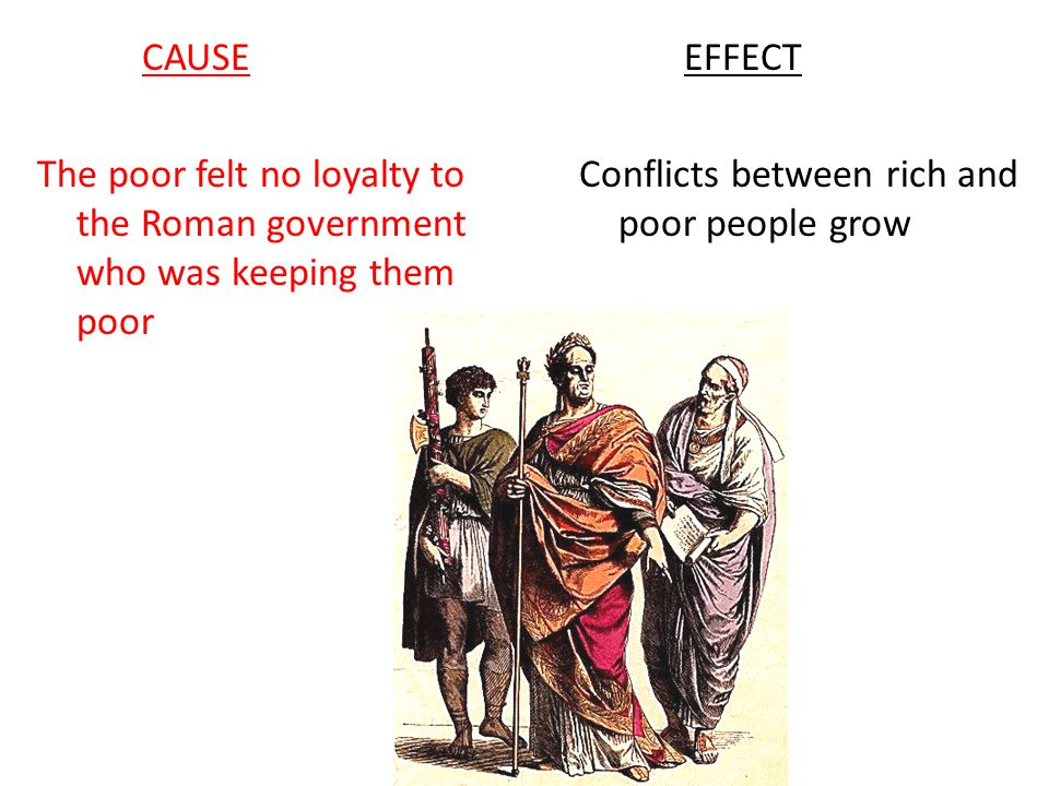 CAUSE The poor felt no loyalty to the Roman government who was keeping them poor.