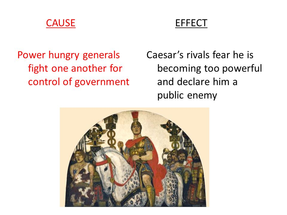 CAUSE Power hungry generals fight one another for control of government. EFFECT.