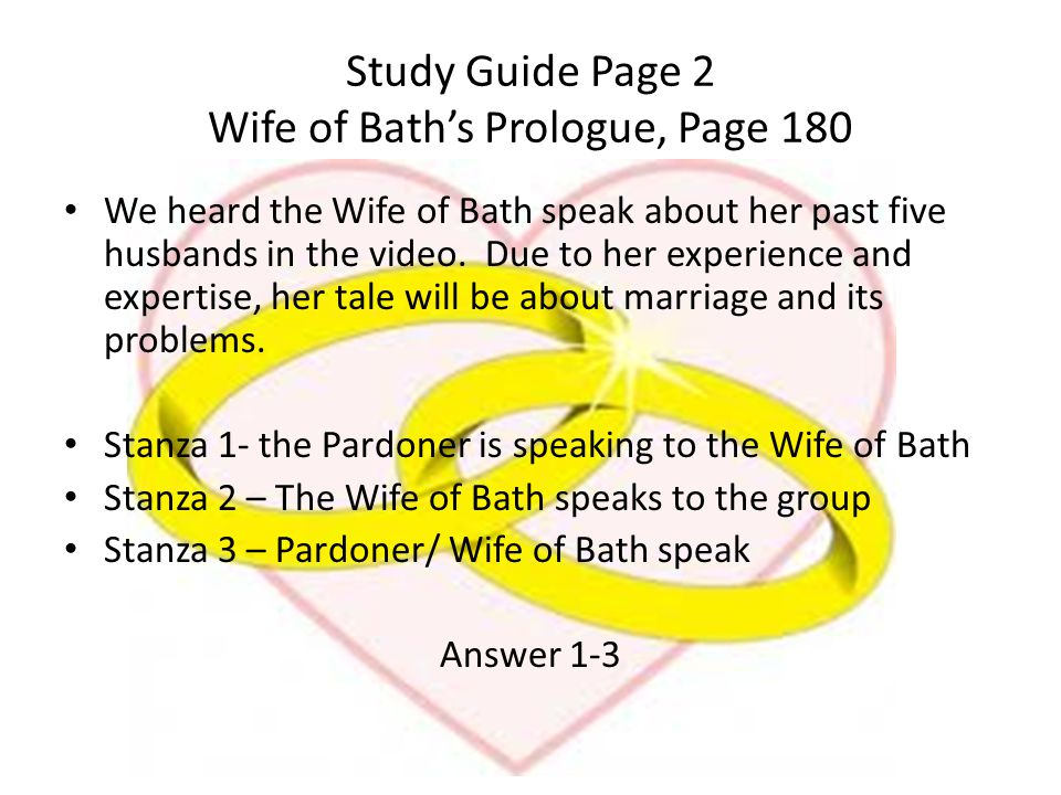 Study Guide Page 2 Wife of Bath's Prologue, Page 180