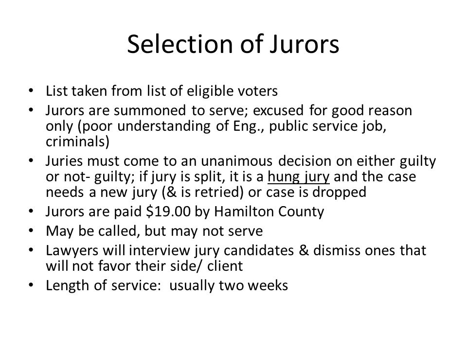 Selection of Jurors List taken from list of eligible voters