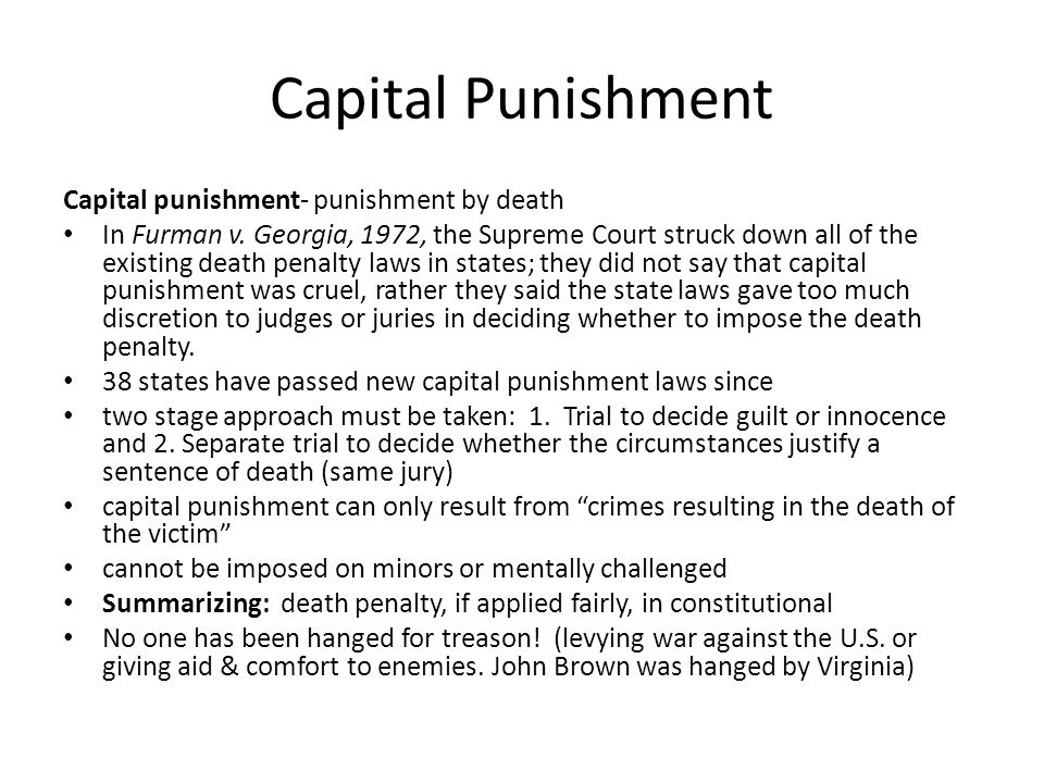 Capital Punishment Capital punishment- punishment by death