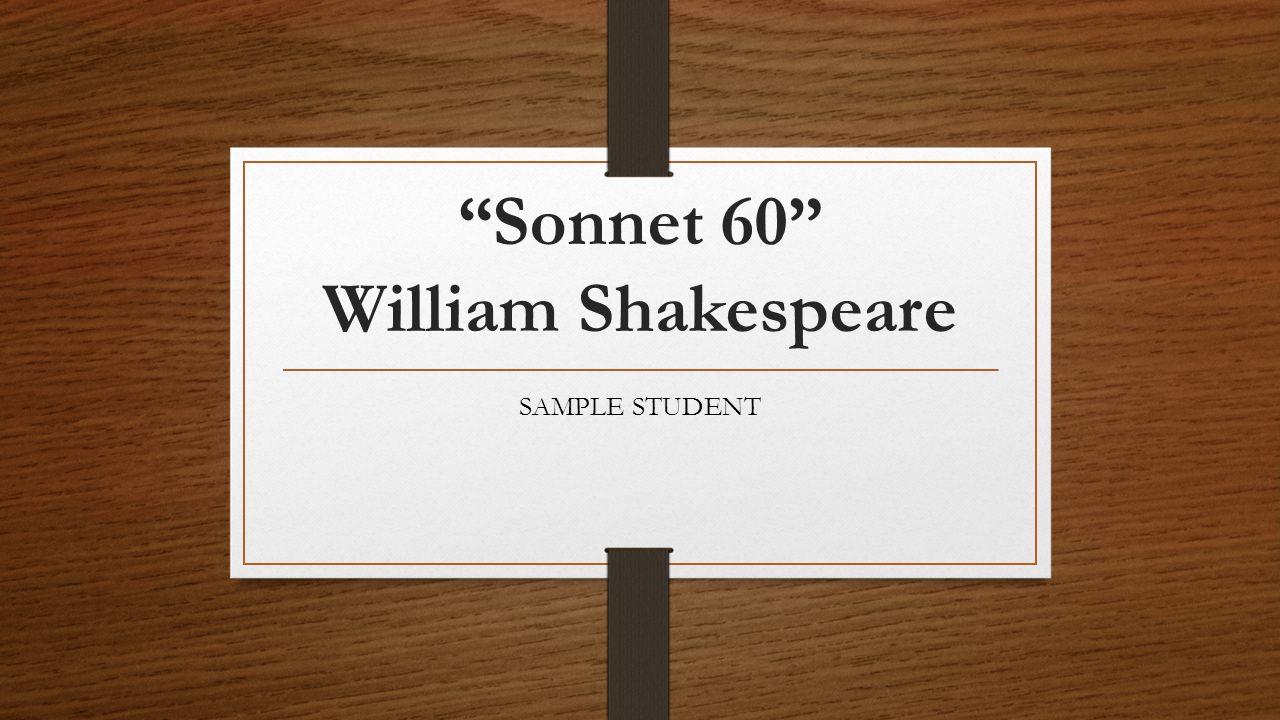 Sonnet 60 William Shakespeare