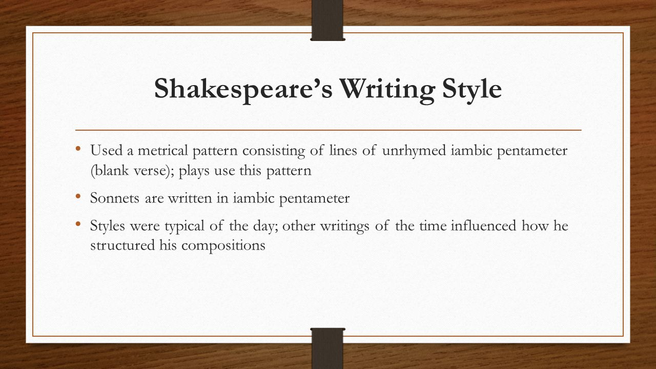 Shakespeare's Writing Style