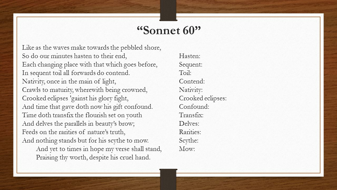 Sonnet 60 Like as the waves make towards the pebbled shore,