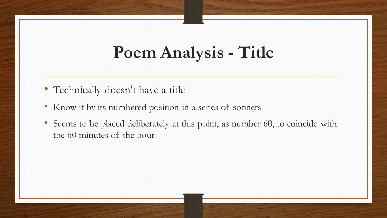 Poem Analysis - Title Technically doesn t have a title