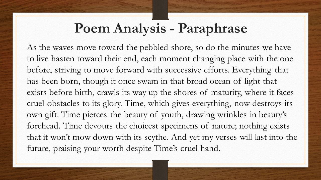 Poem Analysis - Paraphrase