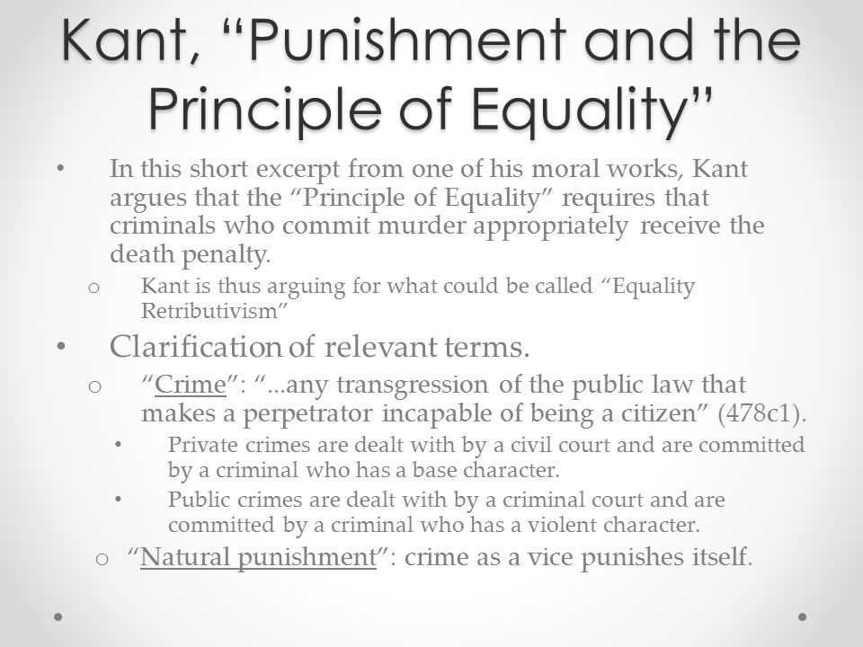 Kant, Punishment and the Principle of Equality