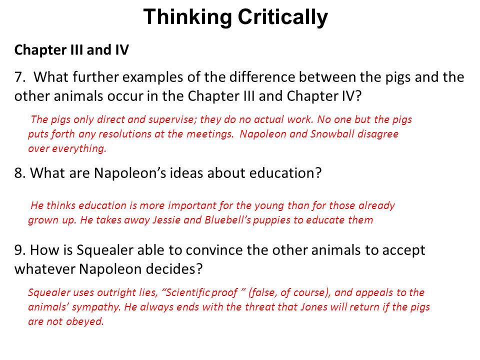 Thinking Critically Chapter III and IV