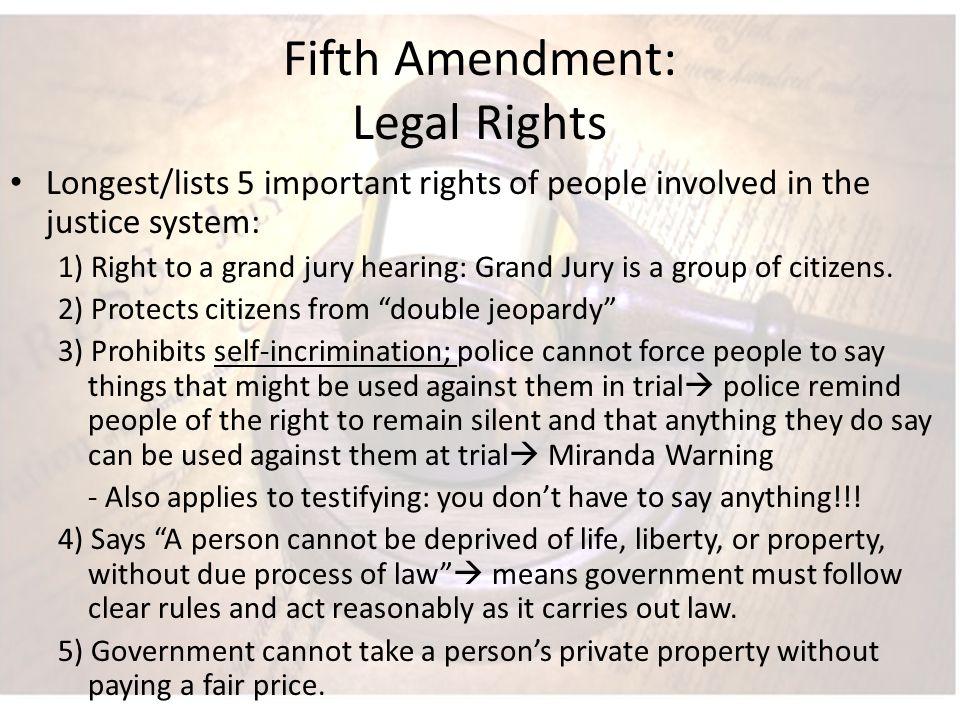 Fifth Amendment: Legal Rights