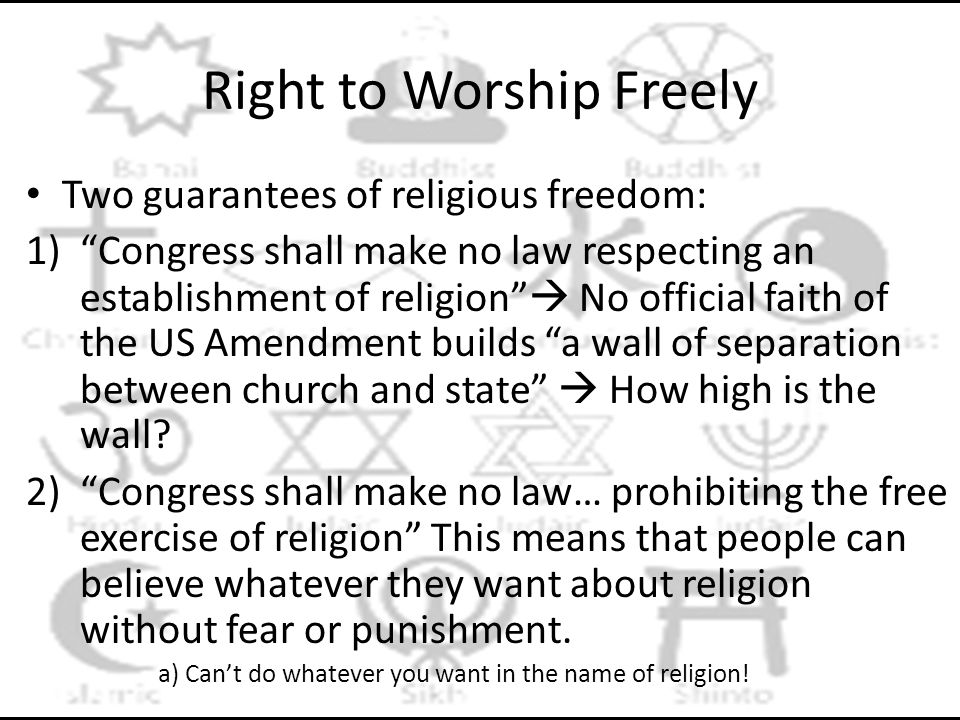 Right to Worship Freely