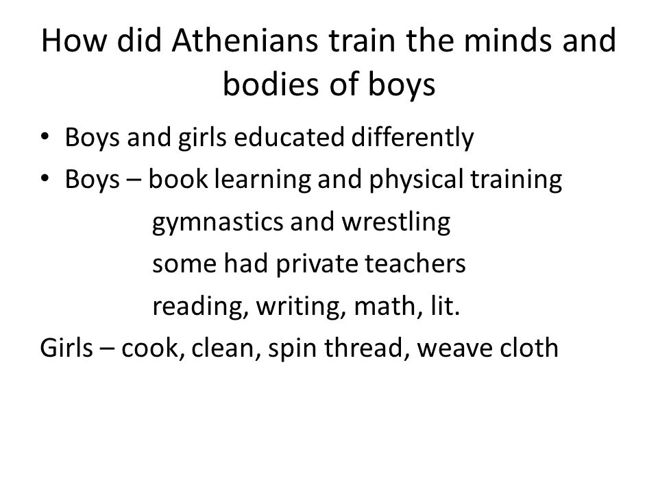 How did Athenians train the minds and bodies of boys