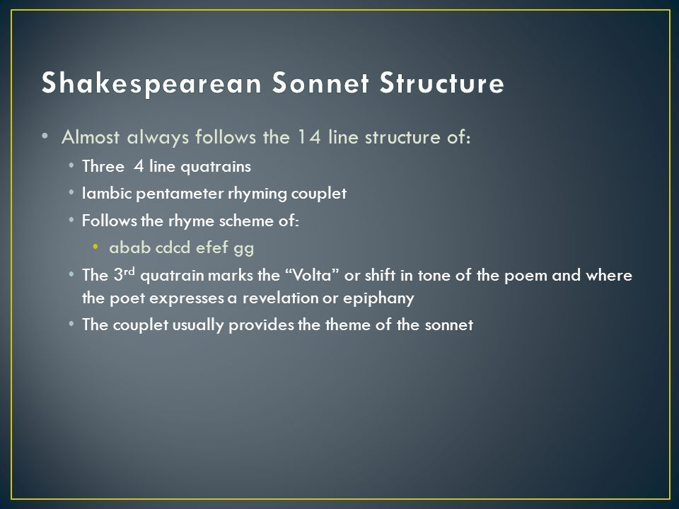 Shakespearean Sonnet Structure
