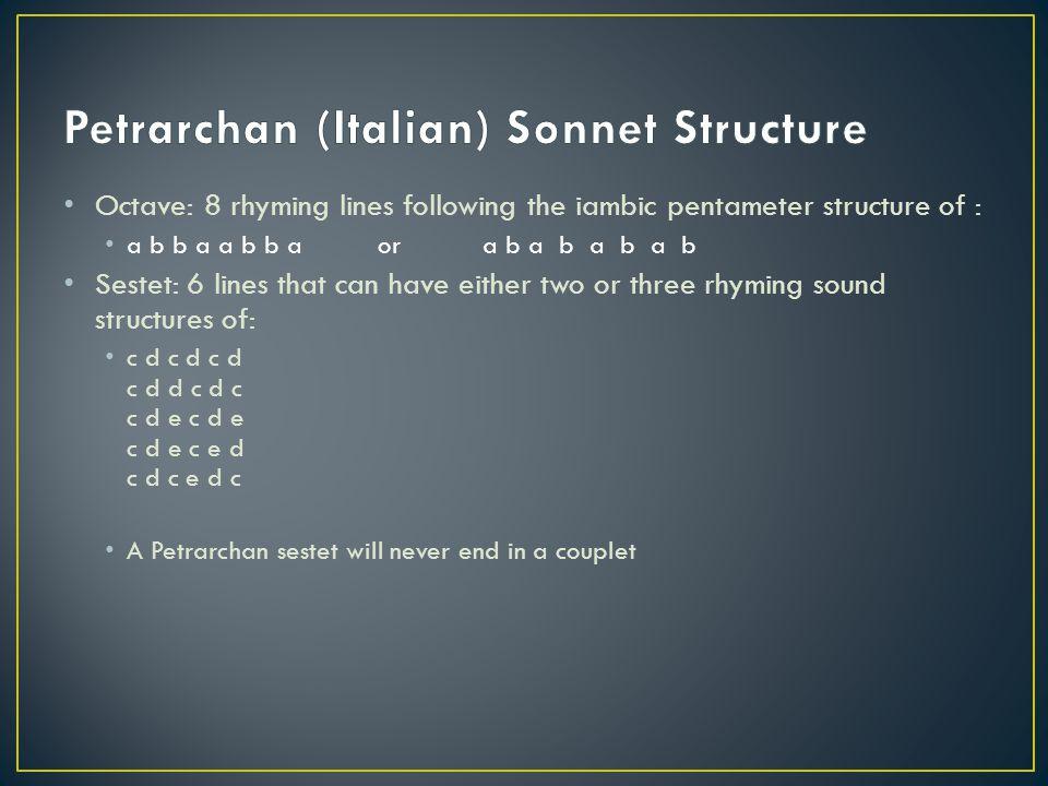Petrarchan (Italian) Sonnet Structure