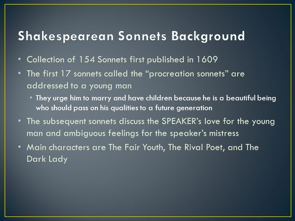 Shakespearean Sonnets Background
