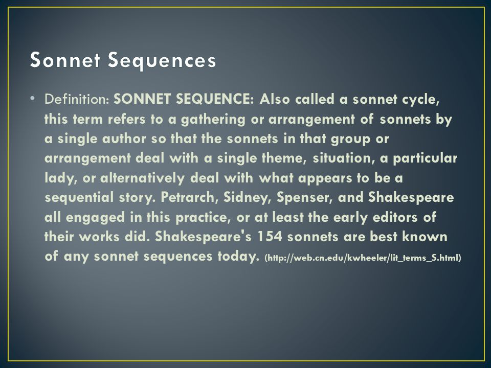 Sonnet Sequences