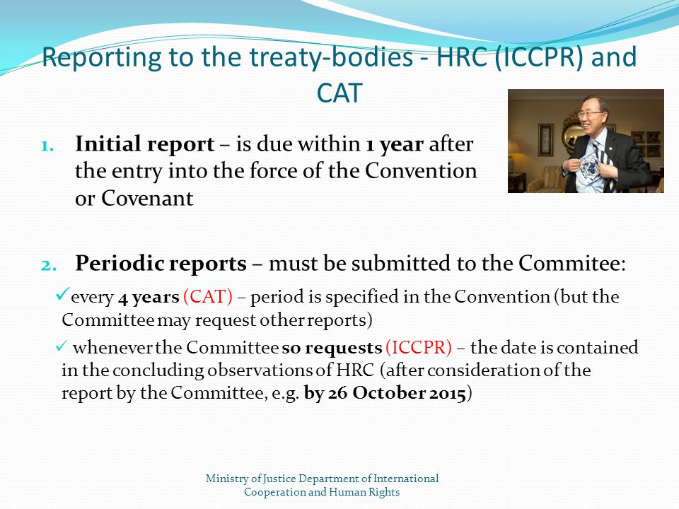 Reporting to the treaty-bodies - HRC (ICCPR) and CAT