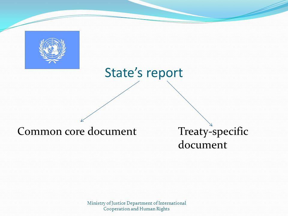 State's report Common core document Treaty-specific document