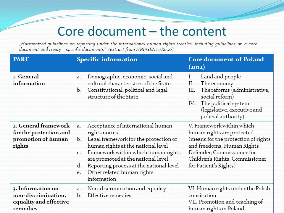 Core document – the content