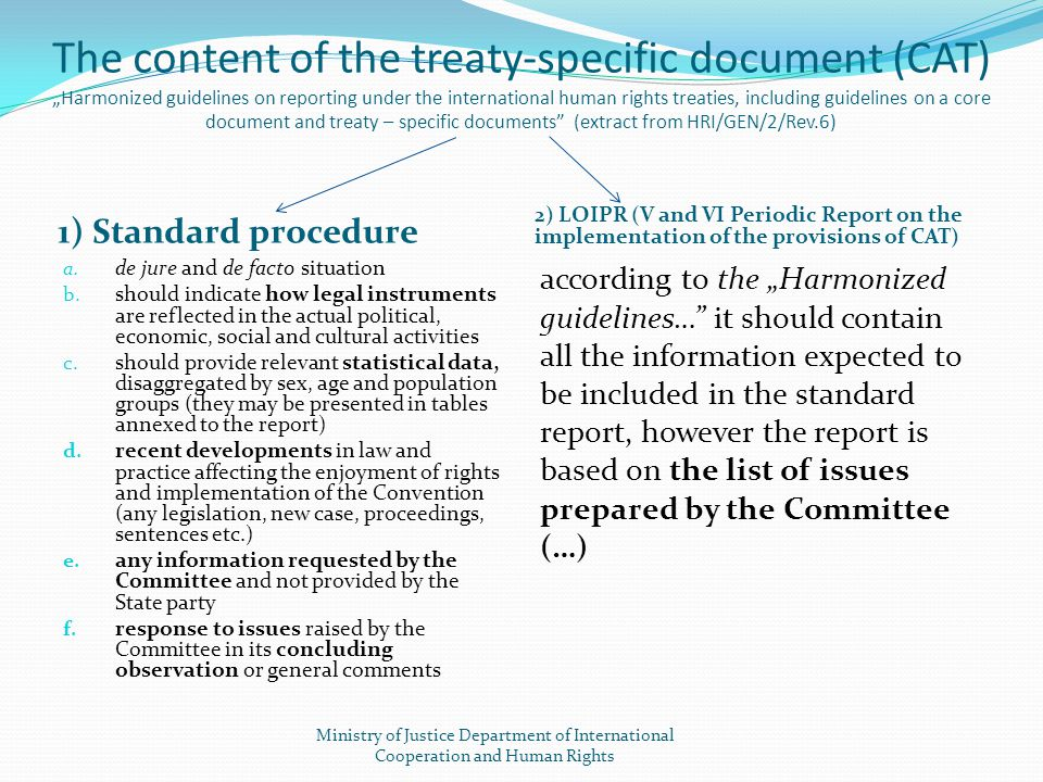 "The content of the treaty-specific document (CAT) ""Harmonized guidelines on reporting under the international human rights treaties, including guidelines on a core document and treaty – specific documents (extract from HRI/GEN/2/Rev.6)"