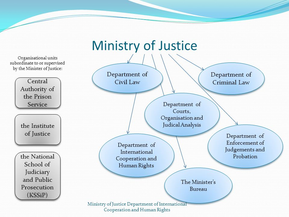 Ministry of Justice Department of Civil Law Department of Criminal Law