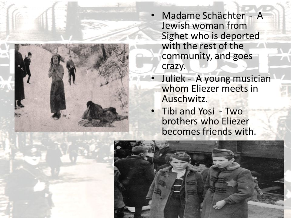 Madame Schächter - A Jewish woman from Sighet who is deported with the rest of the community, and goes crazy.