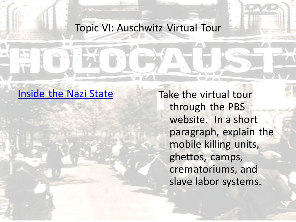 Topic VI: Auschwitz Virtual Tour