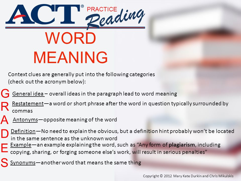 Reading WORD MEANING G R A D E S PRACTICE