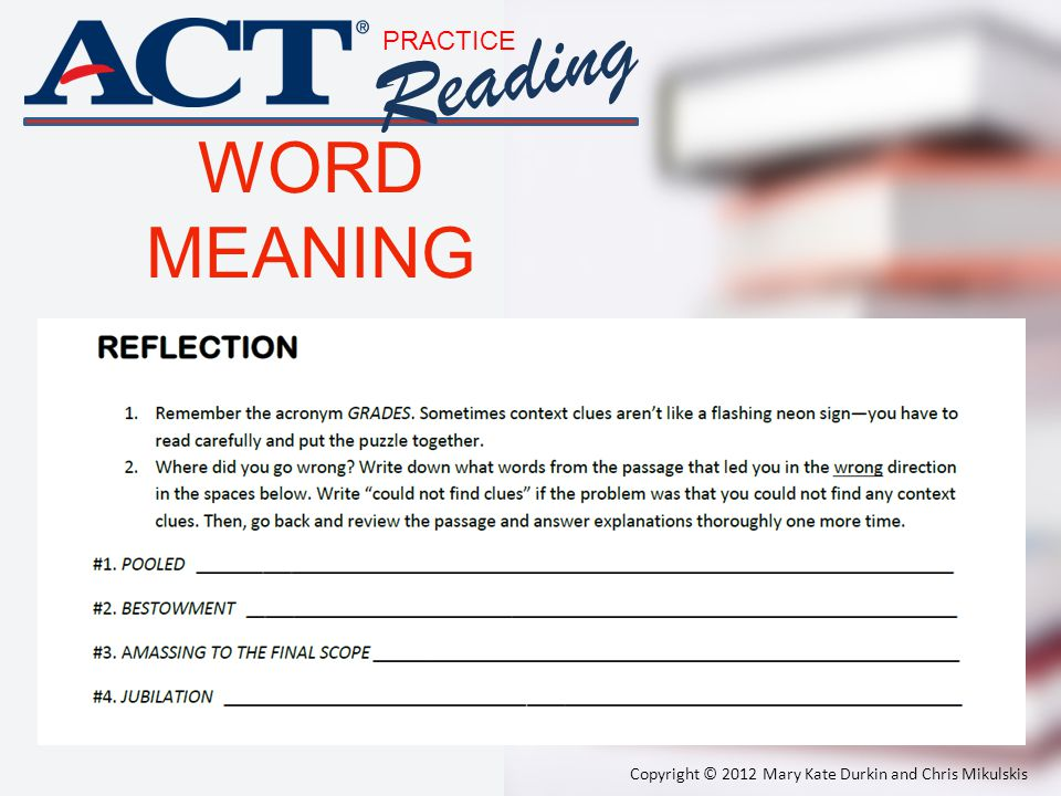 Reading WORD MEANING PRACTICE