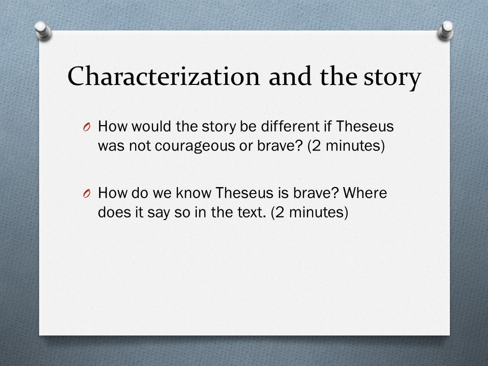 Characterization and the story