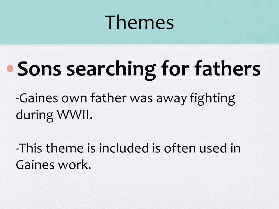 Sons searching for fathers