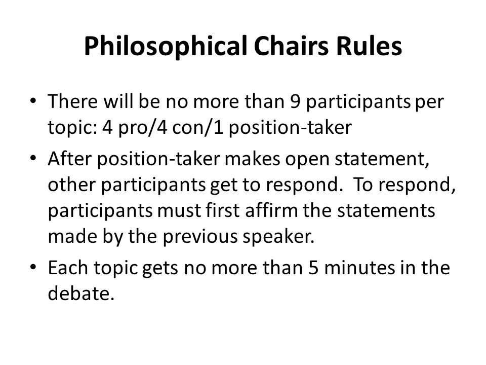 Philosophical Chairs Rules