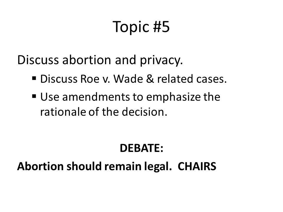 Topic #5 Discuss abortion and privacy.