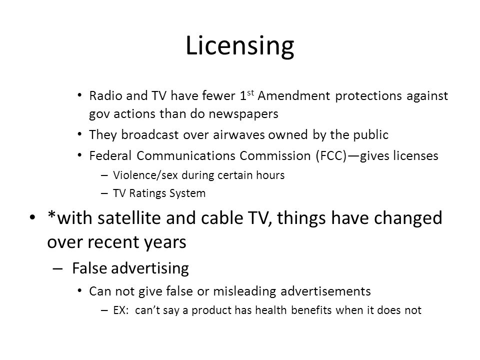 Licensing Radio and TV have fewer 1st Amendment protections against gov actions than do newspapers.