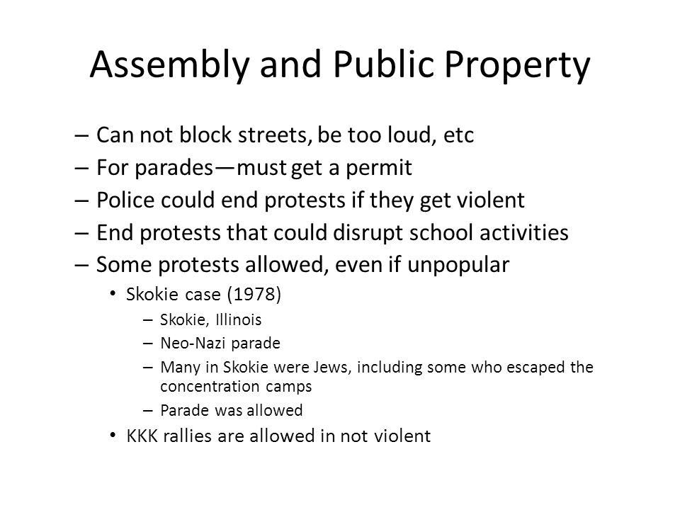 Assembly and Public Property