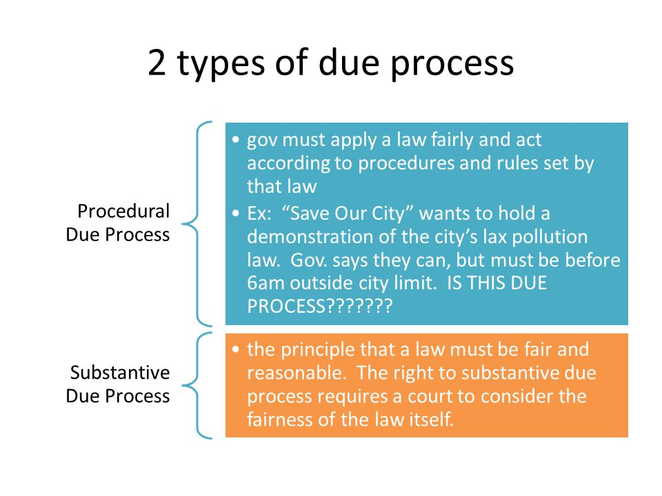 2 types of due process Procedural Due Process