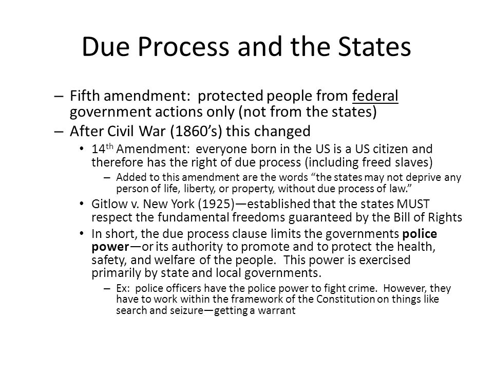 Due Process and the States