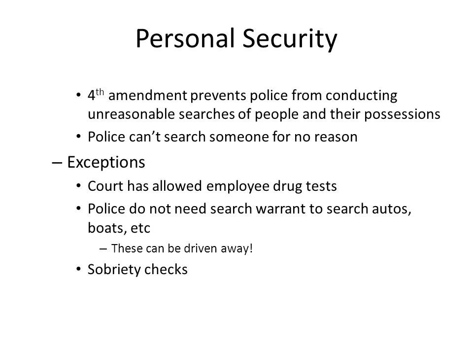 Personal Security Exceptions