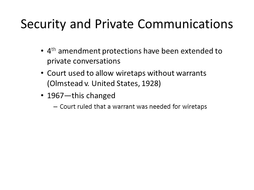 Security and Private Communications