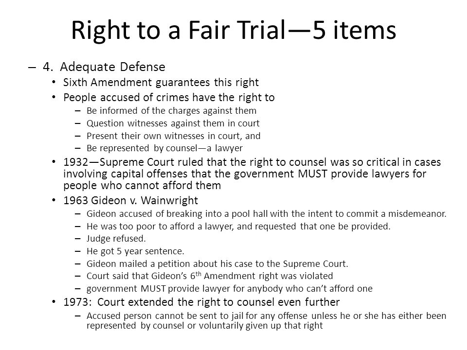 Right to a Fair Trial—5 items