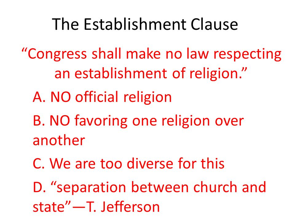 The Establishment Clause
